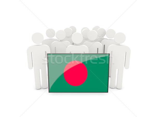 Emberek zászló Banglades izolált fehér tömeg Stock fotó © MikhailMishchenko