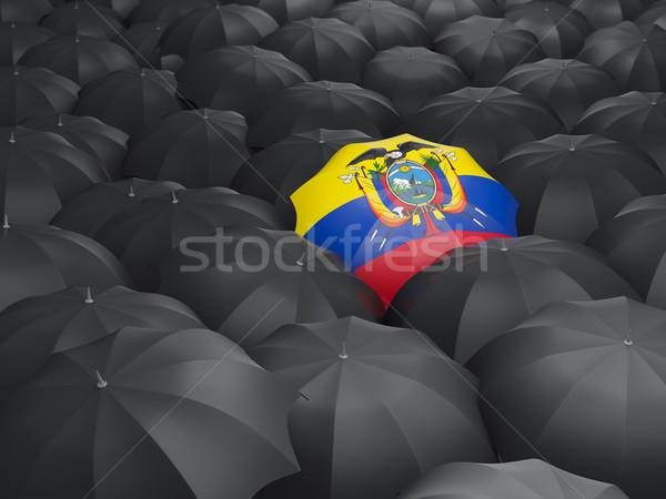 Esernyő zászló Ecuador fekete esernyők eső Stock fotó © MikhailMishchenko
