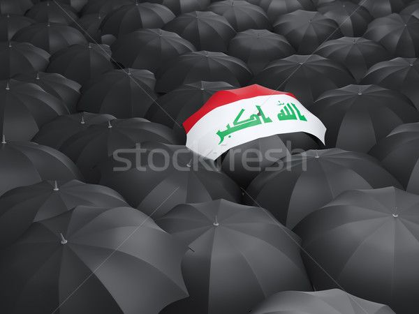 Guarda-chuva bandeira Iraque preto guarda-chuvas viajar Foto stock © MikhailMishchenko
