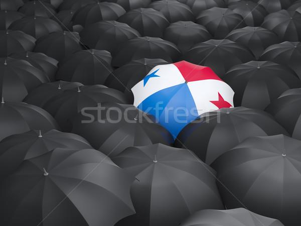 Esernyő zászló Panama fekete esernyők utazás Stock fotó © MikhailMishchenko