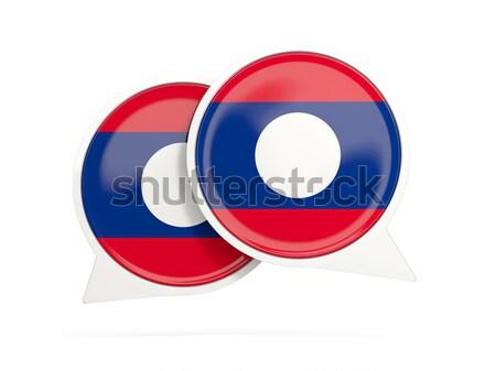 Sticker vlag Laos geïsoleerd witte reizen Stockfoto © MikhailMishchenko