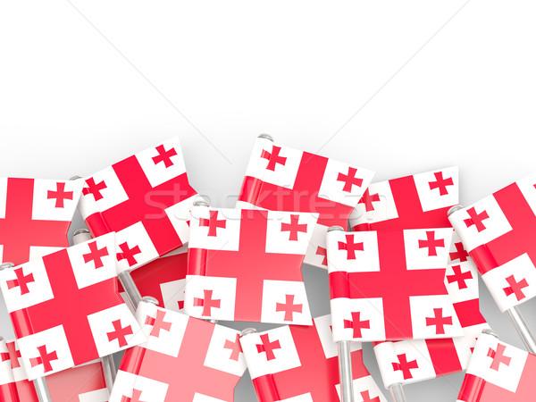 Bandiera pin Georgia isolato bianco sfondo Foto d'archivio © MikhailMishchenko