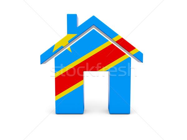 Domu banderą demokratyczny republika Congo odizolowany Zdjęcia stock © MikhailMishchenko