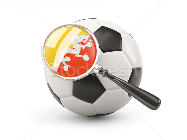 Voetbal vlag Bhutan geïsoleerd witte Stockfoto © MikhailMishchenko
