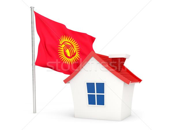 Ev bayrak Kırgızistan yalıtılmış beyaz ev Stok fotoğraf © MikhailMishchenko