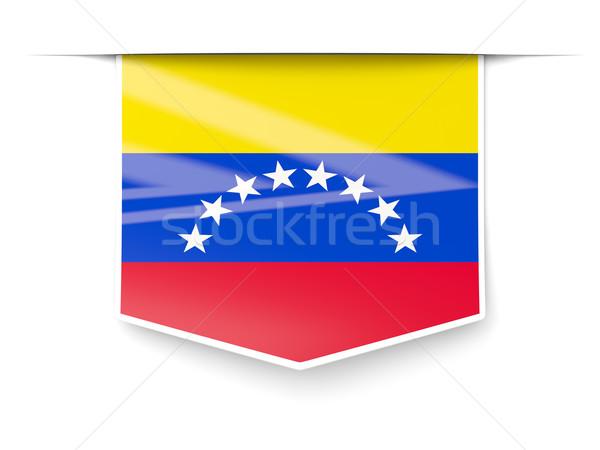 Tér címke zászló Venezuela izolált fehér Stock fotó © MikhailMishchenko