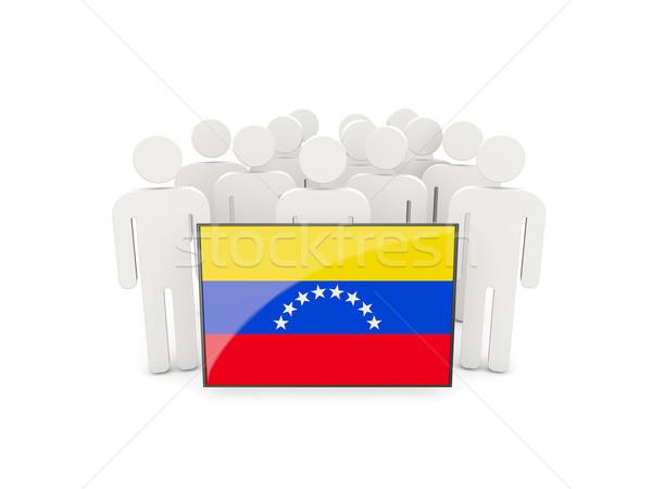 Emberek zászló Venezuela izolált fehér tömeg Stock fotó © MikhailMishchenko