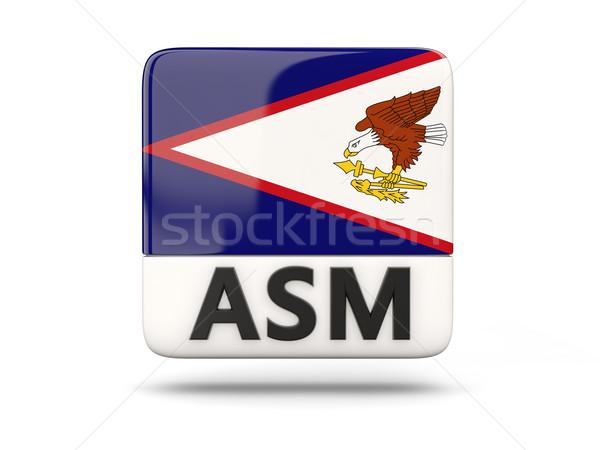 Praça ícone bandeira Samoa Americana iso código Foto stock © MikhailMishchenko