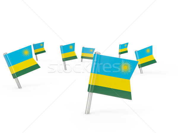 Carré pavillon Rwanda isolé blanche pays Photo stock © MikhailMishchenko