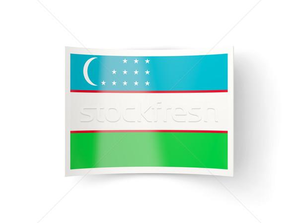Ikon zászló Üzbegisztán izolált fehér vidék Stock fotó © MikhailMishchenko