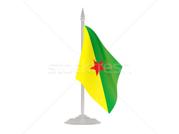 Banderą francuski maszt 3d odizolowany biały Zdjęcia stock © MikhailMishchenko