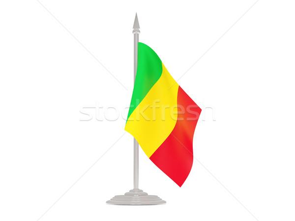 Сток-фото: флаг · Мали · флагшток · 3d · визуализации · изолированный · белый