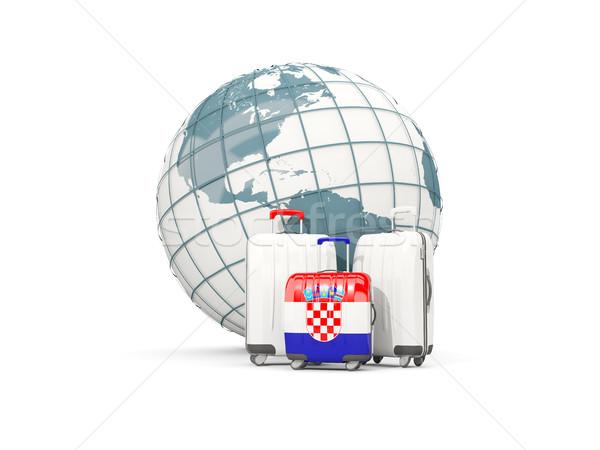 Csomagok zászló három szatyrok földgömb 3d illusztráció Stock fotó © MikhailMishchenko