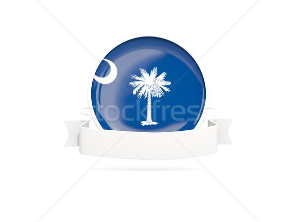 Flag of south carolina with banner, US state round icon Stock photo © MikhailMishchenko