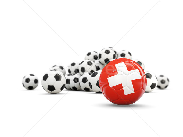 Football with flag of switzerland isolated on white Stock photo © MikhailMishchenko