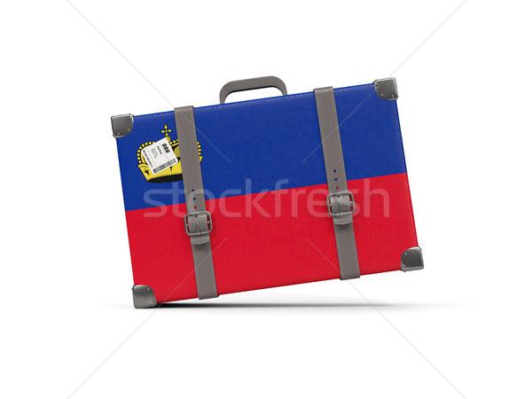 Luggage with flag of liechtenstein. Suitcase isolated on white Stock photo © MikhailMishchenko