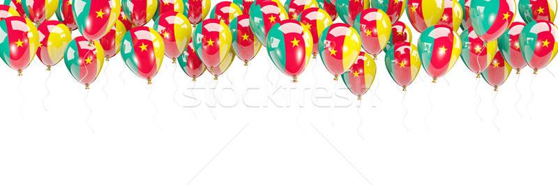 Balony ramki banderą Kamerun odizolowany biały Zdjęcia stock © MikhailMishchenko