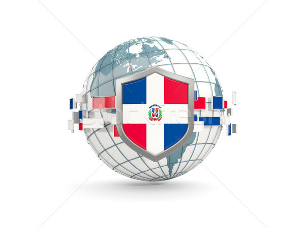 Globe and shield with flag of dominican republic isolated on whi Stock photo © MikhailMishchenko