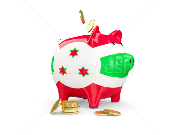 Gordura piggy bank Burundi dinheiro isolado branco Foto stock © MikhailMishchenko