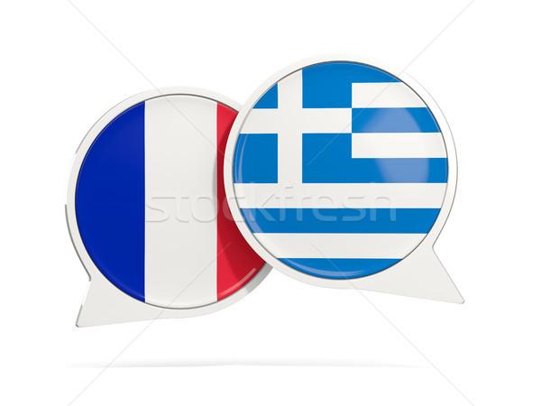 Chat bulles France Grèce isolé blanche Photo stock © MikhailMishchenko