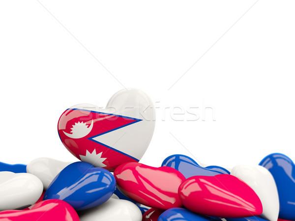 Corazón bandera Nepal superior corazones aislado Foto stock © MikhailMishchenko