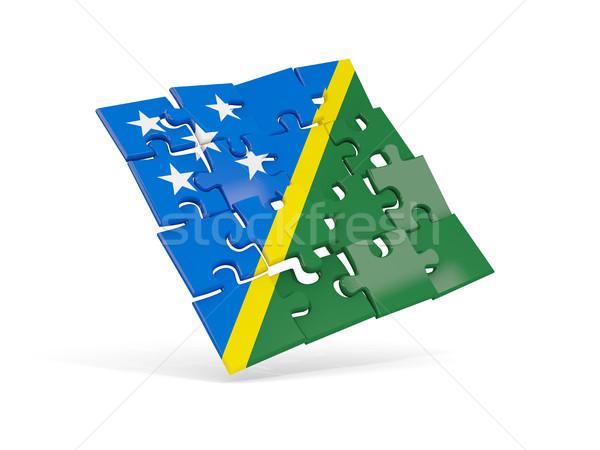 Puzzle flag of solomon islands isolated on white Stock photo © MikhailMishchenko