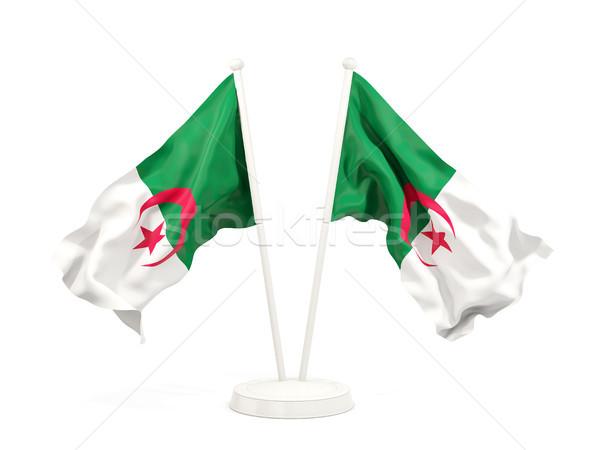 Deux drapeaux Algérie isolé blanche Photo stock © MikhailMishchenko