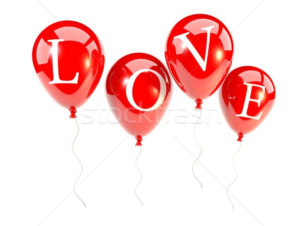 Red balloons with word love Stock photo © MikhailMishchenko