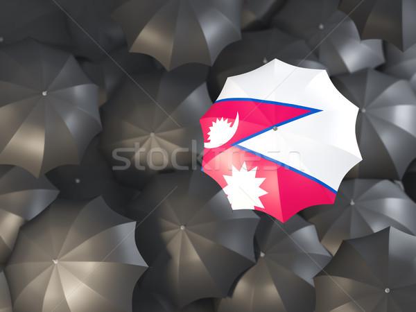 Parasol banderą Nepal górę czarny parasole Zdjęcia stock © MikhailMishchenko