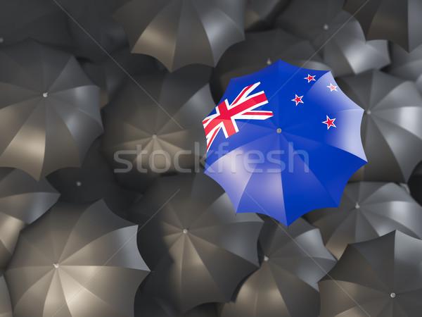 Guarda-chuva bandeira Nova Zelândia topo preto guarda-chuvas Foto stock © MikhailMishchenko