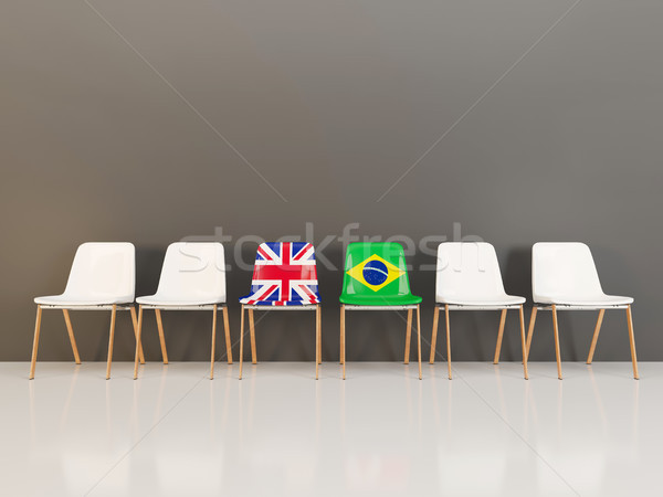 Chairs with flag of United Kingdom and brazil Stock photo © MikhailMishchenko