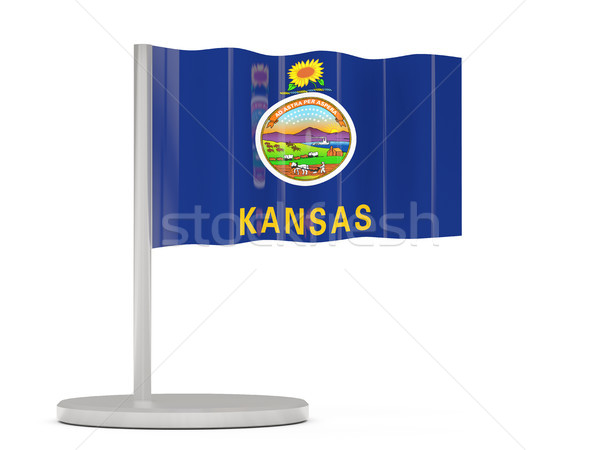 Stock photo: Flag pin with flag of kansas. United states local flags