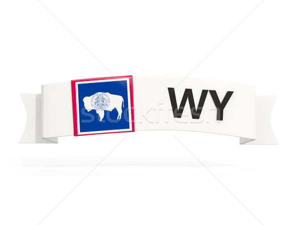 wyoming state flag on banner with postal abbreviation isolated o Stock photo © MikhailMishchenko