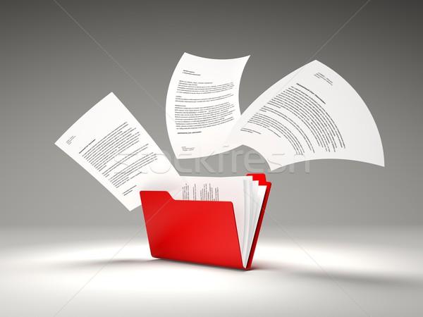 Photo stock: Rouge · dossier · fichiers · internet · données · fichier