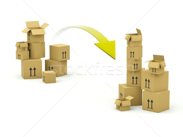 Boxes with arrow isolated on white Stock photo © MikhailMishchenko