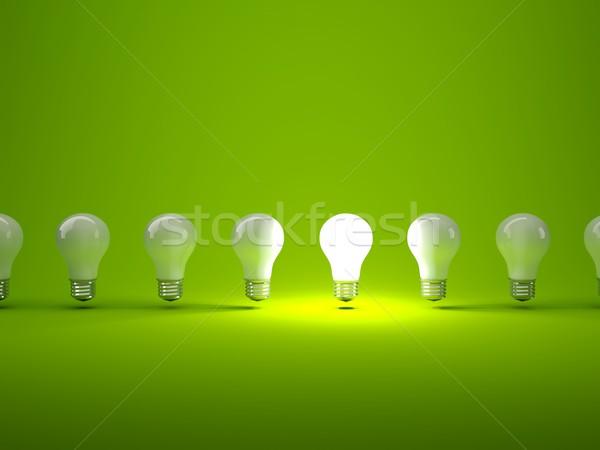 Csetepaté villanykörték zöld technológia energia elektromos Stock fotó © MikhailMishchenko