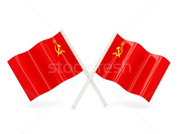 Bayrak sscb iki dalgalı bayraklar yalıtılmış Stok fotoğraf © MikhailMishchenko