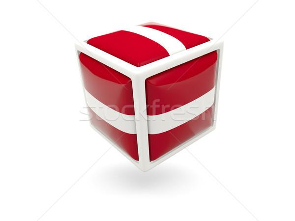 Vlag Letland kubus icon geïsoleerd witte Stockfoto © MikhailMishchenko
