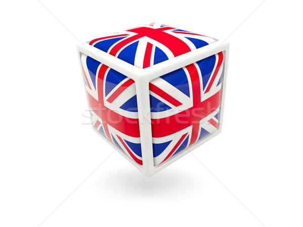 Pavillon Royaume-Uni cube icône isolé blanche Photo stock © MikhailMishchenko