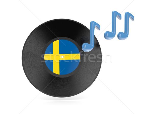 Vinyl disk with flag of sweden Stock photo © MikhailMishchenko