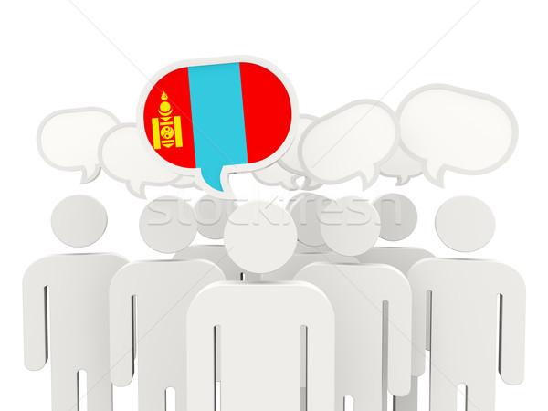 Mensen vlag Mongolië geïsoleerd witte vergadering Stockfoto © MikhailMishchenko