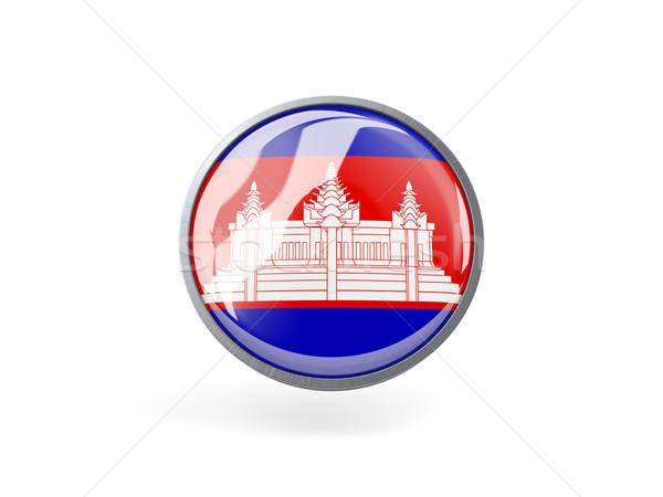 ícone bandeira Camboja metal quadro viajar Foto stock © MikhailMishchenko