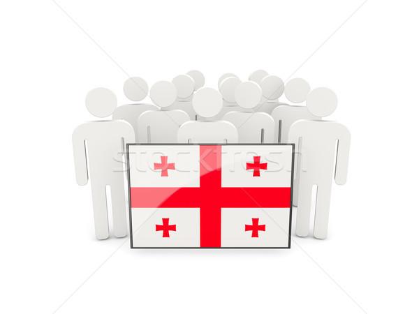 люди флаг Грузия изолированный белый толпа Сток-фото © MikhailMishchenko