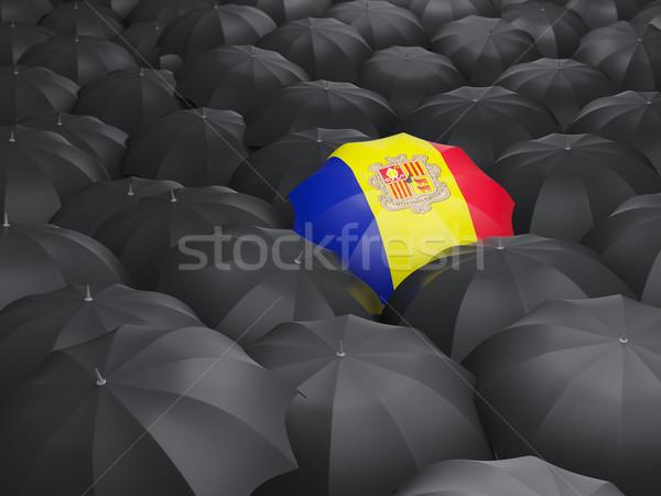 Paraplu vlag Andorra zwarte parasols regen Stockfoto © MikhailMishchenko