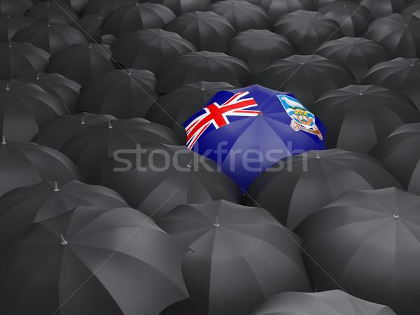 Esernyő zászló Falkland-szigetek fekete esernyők eső Stock fotó © MikhailMishchenko