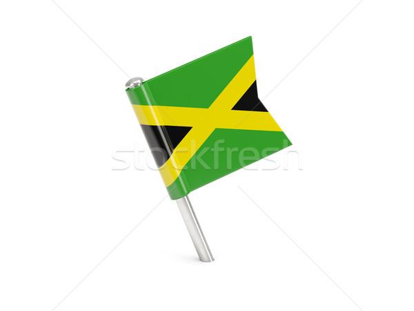 Bayrak pin Jamaika yalıtılmış beyaz Stok fotoğraf © MikhailMishchenko