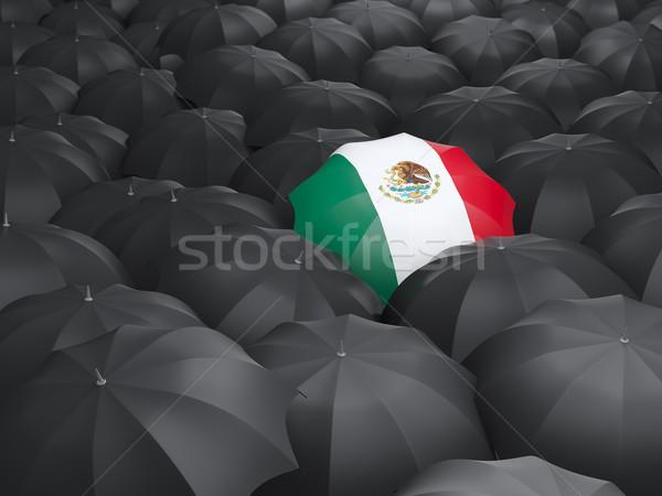 Parasol banderą Meksyk czarny parasole podróży Zdjęcia stock © MikhailMishchenko