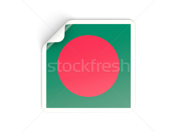 Praça adesivo bandeira Bangladesh isolado branco Foto stock © MikhailMishchenko