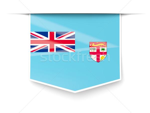 Piazza etichetta bandiera Fiji isolato bianco Foto d'archivio © MikhailMishchenko