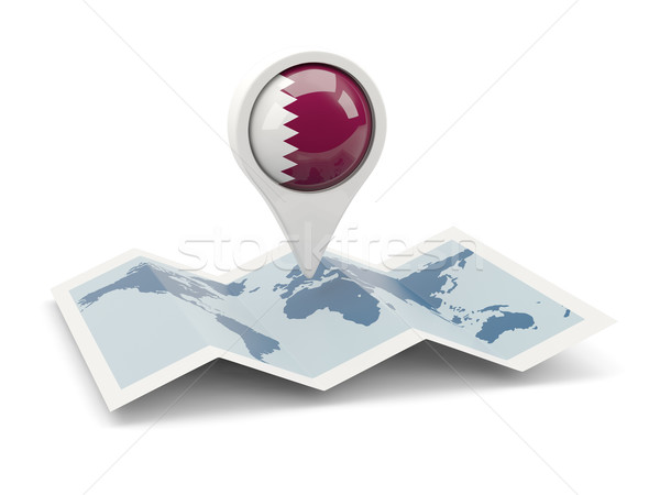 Pin banderą Katar Pokaż biały kraju Zdjęcia stock © MikhailMishchenko